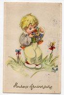 Heureux Anniversaire -1955--illustrateur  ???  ---Enfant , Fleurs - Illustrateurs & Photographes