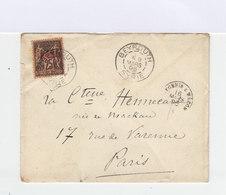 Sur Enveloppe Type Sage 25 C. Noir Et Rose. CAD Beyrouth 1896. CAD Paris. Enveloppe MM. (747) - Syrie