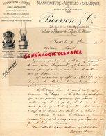 75-PARIS-RARE FACTURE 1886-BOISSON & CIE-MANUFACTURE ARTILES ECLAIRAGE-ELECTRICTE-FOURNEAUX PETROLE-RUE FOLIE MERICOURT - France