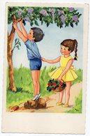 Illustrateur  ??? --carte Signée --  Enfants Cueillant Des Fleurs (lilas)  - - Illustrateurs & Photographes