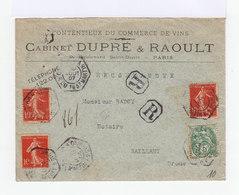 Sur Enveloppe 3 Timbres Type Semeuse 10 C. Rouge Et Un Type Blanc 5 C. Vert. CAD Hexagonal Paris 1907. (749) - 1877-1920: Période Semi Moderne