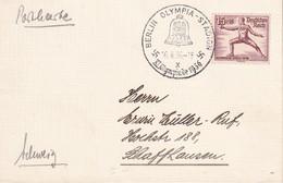 ALLEMAGNE 1936 CARTE  DE BERLIN OLYMPIA STADION - Storia Postale