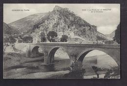 CPA 48 - LA MALENE - Le Pont De La Malène Et Le Château - TB PLAN EDIFICE + Jolie Vue Générale Du Village Derrière - Francia