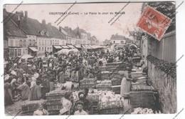 CPA COURTENAY (45) - La Place Le Jour Du Marché (volailles, Fermiers, Foire) - Courtenay