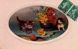 CHAT  Chats Et Bouquet De Fleurs - Katten