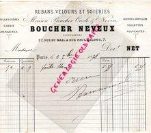 75- PARIS- RARE FACTURE BOUCHER NEVEUX-RUBANS VELOURS SOIERIES- SOIE-27 RUE DU MAIL ET 7 RUE PAUL LELONG-1878 - France