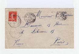 Sur Enveloppe Type Semeuse 10 C Rouge. Surimpression F.M. CAD New Yorf Le Havre Hexagonal 1909. (754) - Marcophilie (Lettres)