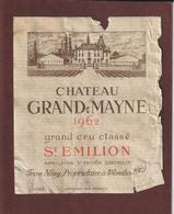 Étiquette De Vin - ST. EMILION De 1962 - CHÂTEAU GRAND MAYNE - Grand Cru Classé - Jean NONY Propriétaire  à St. Emilion - Bordeaux