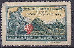 VALAIS - SION / EXPOSITION CANTONALE VALAISANNE 1909 - (petit Dechirure A Droite) - RARE VIGNETTE - Erinnophilie