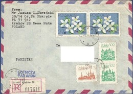 POLAND REGISTERED POSTAL USED AIRMAIL COVER TO PAKISTAN - Ohne Zuordnung