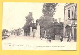 """Carte Postale En Noir & Blanc """" Maisons Ouvrières En Bordure De La Route Nationale """" à AILLY-SUR-SOMME - Autres Communes"""