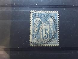 Type SAGE No 101, 15 C Bleu Obl Cachet Perlé De COMMEQUIERS, Vendée,  2 Novembre 1897 , TB Rare - 1876-1898 Sage (Type II)