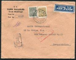 1950 Turkey Agriculture Ministry Registered Airmail Cover Ankara -  Argus Press Agency, Geneva Switzerland - 1921-... Republic