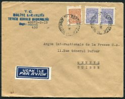 1950 Turkey Government Ministry Airmail Cover Ankara -  Argus Press Agency, Geneva Switzerland - 1921-... Republic