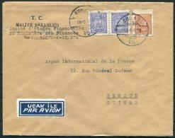 1950 Turkey Government Finance Ministry Airmail Cover Ankara -  Argus Press Agency, Geneva Switzerland - 1921-... Republic