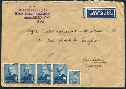 1948 Turkey Government Ministry / Maliye Bakanligi Airmail Cover Ankara -  Argus Press Agency, Geneva Switzerland - 1921-... Republic