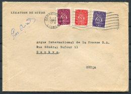 1949 Portugal Swedish Sweden Legation De Suede, Airmail Cover Lisboa - Argus Press Agency, Geneva Switzerland. - 1910-... République