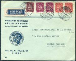 1949 Portugal Marconi Radio Illustrated Airmail Cover Lisboa - Argus Press Agency, Geneva Switzerland. - 1910-... République