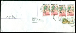 Nigeria 1997 Cover From Apapa To Holland Mi 606 And 668 (2 Strips Of 2) - Nigeria (1961-...)