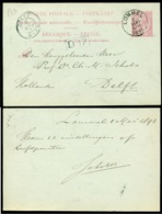 België 1893 Postkaart Naar Delft - Postcards [1871-09]