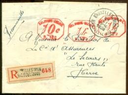 België 1929 Aangetekende Brief Met Machinefrankering Van Soumagne Naar Herve - Belgium
