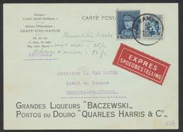 """Képi - N°320 Sur Imprimé """"Grandes Liqueurs Baczewski"""" En Expres De Namur (1934) Vers Esschen-Frontiere - 1931-1934 Mütze (Képi)"""
