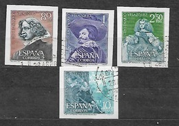 #468# ESPAÑA SPAIN EDIFIL SH 1344/1347, MICHEL 1239/1242 VF USED. USADOS MATASELLO PRIMER DIA. VELAZQUEZ, PAINTING. - 1931-Heute: 2. Rep. - ... Juan Carlos I