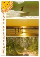 CPM. France. Côte Atlantique : Surf, Coucher De Soleil Et Forêt. Jolis Cachets Et Flamme En Rouge. 1987. - Frankrijk