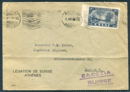 Greece Athens, Legation De Suisee, Swiss Diplomatic Cover - Zurich Switzerland - Covers & Documents