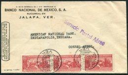 1938 Banco Nacional De Mexico, Jalapa Airmail Cover - American National Bank, Indianapolis USA - Mexico