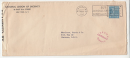 National Legion Of Decency Double Censored Letter Cover Travelled 1942 NY To Curacao - Curacao Censuur B181020 - United States