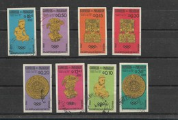 PARAGUAY 1966, OLYMPIC GAMES MEXICO 1966, ARCHEOLOGY, GOLD SCULPTURES. 8 VALUES CPL SET IMPERFORATED USED - Paraguay