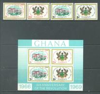 GHANA - 1969 - MNH/** - 3rd ANNIVERSARY OF THE REVOLUTION  - Yv 340-343 BLOC 34 - Lot 17909 - Ghana (1957-...)