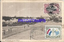 101733 AFRICA CONGO BELGE BELGIUM BELGISCH CONGO KINSHASA SQUARE STATION TRAIN POSTAL POSTCARD - Postcards