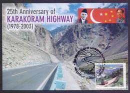 PAKISTAN 2003 - KARAKORAM HIGHWAY, CHINA RELATED JINNAH & MAO LEADERS, MAXIMUM CARD - Pakistan