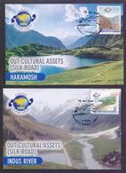 PAKISTAN 2004 - SILK ROAD, OUR CHULTURAL ASSETS, EURASIA POSTAL UNION, MAXIMUM CARD SET OF 2 - Pakistan