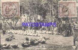 101755 AFRICA CONGO BELGE BELGIUM BELGISCH CONGO KIMPENBA COSTUMES NATIVE MARKET CIRCULATED TO ARGENTINA POSTAL POSTCARD - Postcards