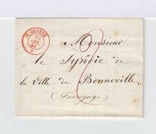 Lettre De Genève Vers Bonneville. CAD 1844 Rouge Genève. Marque Postale. (756) - Marcophilie