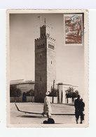Sur Carte Postale Deux Timbres Maroc: 3 F Brun Fès Et 1 F. Brun Forôts Cédres. CAD Bleu 1947. (748) - Lettres & Documents