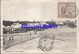 101762 AFRICA CONGO BELGE BELGIUM BELGISCH CONGO KINSHASA SQUARE OF STATION TRAIN CIRCULATED TO ARGENTINA POSTCARD - Postcards