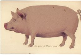 ANIMAUX ANIMAL COCHON PORC PIG  JE PORTE BONHEUR SILHOUETTE DE PORC COLLÉE - Cochons