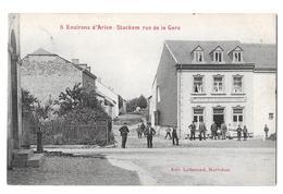 Environs D'arlon 5 Stockem Rue De La Gare Edit Lallemand Café Du Luxembourg Rare Bon état 1908 - Arlon