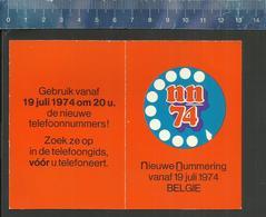 ZAKKALENDER CALENDRIER NN 1974 RTT REGIE TELEGRAFIE TELEFONIE NIEUWE NUMMERING BELGIË - Calendriers