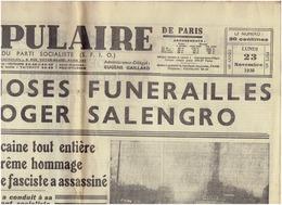Le POPULAIRE Du 23 Novembre 1936 : Funérailles De SALENGRO - Other