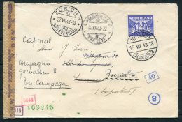 1943 Netherlands Rotterdam Censor Cover - Lausanne Redirected Zurich Switzerland - Covers & Documents