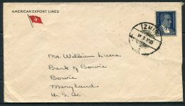 1935 Turkey American Expot Lines Shipping Cover Izmir - Bowie, Maryland USA. SS Excelsior Ship - 1921-... Republic