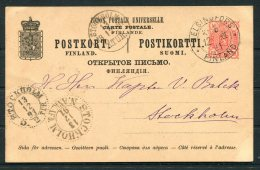 1891 Finland Stationery Postcard Helsingfors - Stockholm Sweden (3 Different Stockholm Arrival/transit Cancels) - 1856-1917 Russian Government