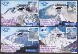 PAKISTAN 2017 - Int'l Year Of Sustainable Tourism For Development, Mountains K2, MAXIMUM CARD Set Of 4 - Pakistán