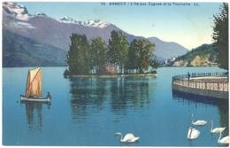 CPA 74 - 70. ANNECY - L'Ile Aux Cygnes Et La Tournette - LL - Annecy