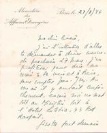 Lettre à En Tête Manuscrite Ministère Des Affaires étrangères Du 24 Mars 1946 à Paris - Manuscrits